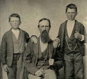 Robert Sallee James with his sons, Jesse & Frank. Circa 1850